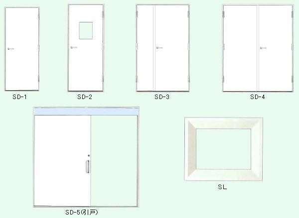 ソフトカーム鋼製放射線防護扉・覗窓 製品図